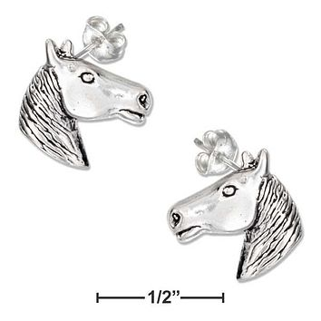 Sterling Silver Earrings:  Mini Horse Head Earrings On Stainless Steel Posts And Nuts