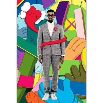MQ3611 Kanye West Bear Kaws Rapper Hip Hop Music Album Cover Art Poster Silk Light Canvas Home Room Decor Wall Picture Printing