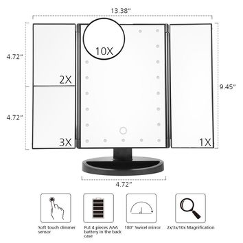 LED Touch Screen Light Makeup Vanity (3 Folding Adjustable Mirror)