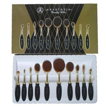 10pcs Multipurposed Rose Gold Brushes Tooth Shape Oval Makeup Set