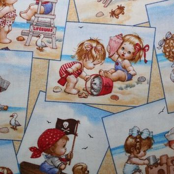 Cotton Fabric, By The Yard, Elizabeths Studio Fabric, Beach Kids, Cream, Babies on the Beach, Sewing Fabric, Quilting Fabric, Fabric Shop