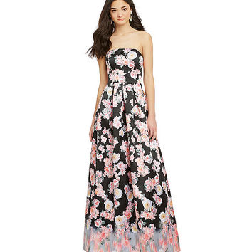 B. Darlin Border Print Floral Ball Gown | Dillards