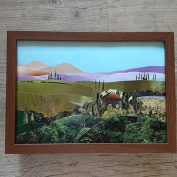 Toscana landscape - 3D paper collage - art picture original - Toscana fields Italy - nature multicoloured green blue - europeanstreetteam