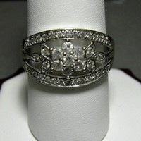 14k Diamond Ring Flower Motif 5/8ctw SZ9 Pave Genuine Diamonds 3.8 grams - Genuine Diamond