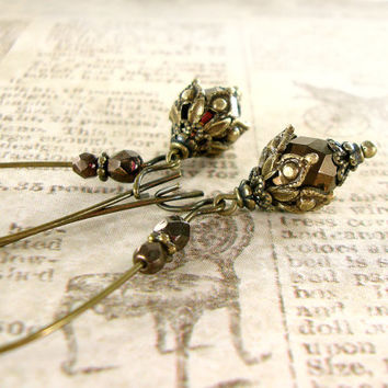 Victorian Steampunk Earrings - Brown Bronze Dangle Earrings - Long Brass Steampunk Jewelry - Bronze Steampunk Wedding Bridesmaids Gifts