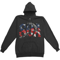 Sons Of Anarchy Men's  SOA Reaper Am Flag Hooded Sweatshirt Black Rockabilia