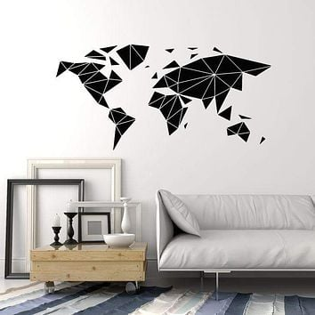 Vinyl Wall Decal Abstract Geometric Multifaceted Earth Map Stickers (2755ig)