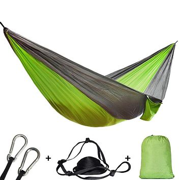 Single Double Hammock Adult  Backpacking Travel Survival Hunting With 2 Straps 2 Carabiner