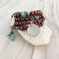 Wood and Vintage Gypsy Metalwork Bracelet - Memory Wire Coil Bracelet, Turquoise Accents