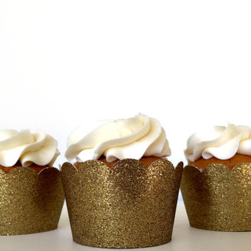 Gold Glitter Cupcake Wrappers - Set of 12 - Party Supplies // Wedding Decorations // Birthday Party