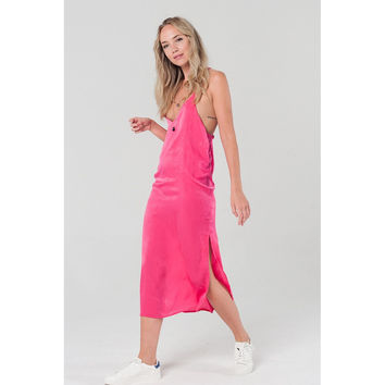 Cami slip dress in fuchsia