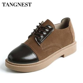 Tangnest NEW Faux Suede Leather Oxfords For Women Casual Round Toe Platform Shoes Lace-up Lady Casual Patchwork Creepers