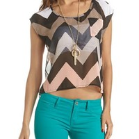 Button-Back Chevron Tee: Charlotte Russe
