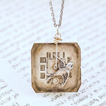 Birdhouse In Your Soul • Time Flies Necklace