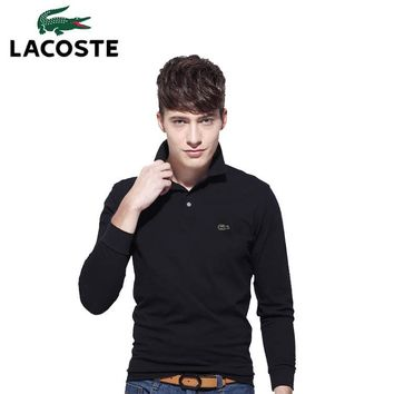 Hot Sale Lacoste MEN Long Sleeve Simple Polo Shirt 100% COTTON TOP