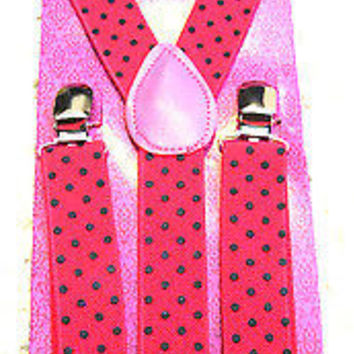 Hot Pink Black Tips Bow tie & Hot Pink with Black Polka Dot Suspenders Combo-New