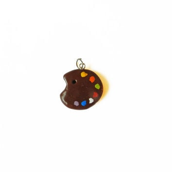 Paint Palette Charm - Polymer Clay Charm - Artist Charm - Artist's Palette Charm - Polymer Clay Pendant - Artist Jewelry - Cute Charm