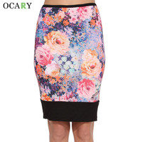 Bodycon Spring Summer Pencil Skirt Floral Print Women Skirts Ladies Midi Skirt Sexy Night Club Wear Plus Size 2XL Rokken