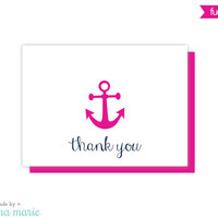 anchor thank you cards, nautical note cards, 8 cards & envelopes