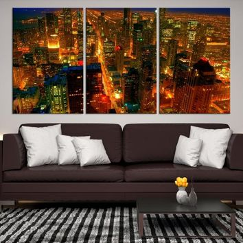 42646 - Chicago Wall Art Canvas Print - Extra Large Chicago City Night Canvas Print