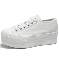 Women's White Simple Canvas Platform Sneakers Low Top Trainers