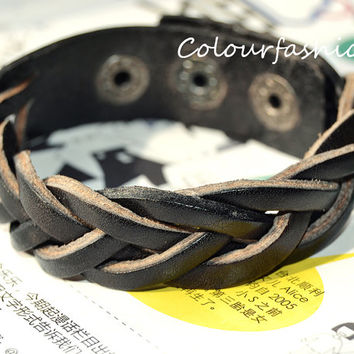 Christmas Gift, Winter Unique Stylish Woven Natural Black Leather Cuff Metal Button Adjustable Wrap Bracelet