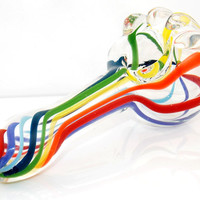 Up, Up and Away! Rainbow Hot Air Balloon Inspired Glass Pipe - Ultra Thick Clear Pyrex w/ Multi Colorful Swirls Tobacco Smoking Spoon Bowl
