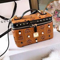 MCM Newest High Quality Popular Women Leather Rivet Cosmetic Bag Handbag Tote Shoulder Bag Crossbody Satchel
