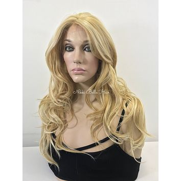 Natural Blond Balayage' Human Hair Blend 4x4 SILK TOP Deep Multi Parting Lace Front Wig -  Fiona