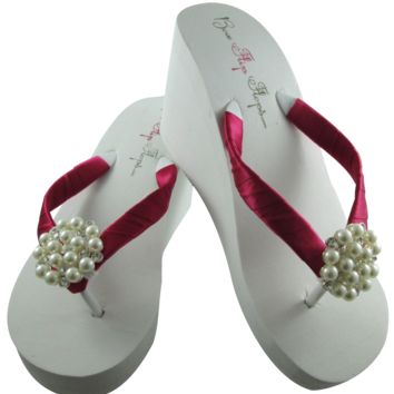 Shocking Pink Bridal Flip Flops with Pearl Embellishment- 3.5 inch heel on White or Ivory