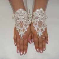 Ivory Lace Handmade Medium Length Fingerless Wedding Gloves With Plain Layer of Lace and Silk Ribbons