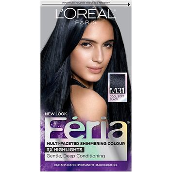 L'Oreal Paris Feria Multi-Faceted Shimmering Color, M31 Midnight Moon (Cool Soft Black)