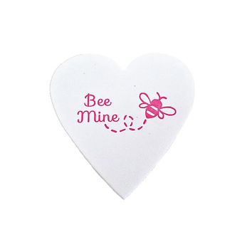Bee Mine Mini Heart Note White Cotton with Glassine Sleeve - set of 4