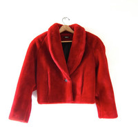 Vintage 80s Plush FAUX FUR COAT. Cropped coat. Glam cranberry red winter coat.