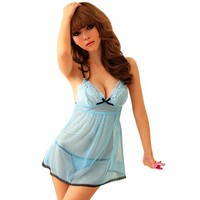 Amour- Sexy Lingerie Opaque Blue Openback Mini Dress Babydoll (black bow)
