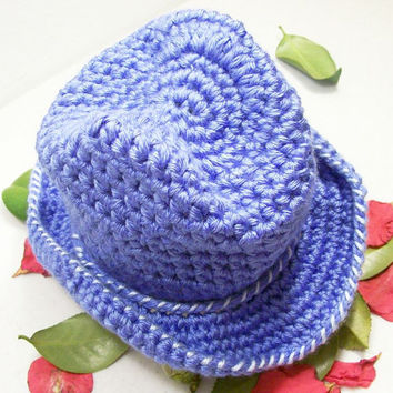 Western Baby Cowboy Hat-Light Blue Crochet-Baby Shower Gift