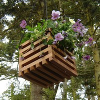 Recycled wood hanging basket planter by andrewsreclaimed on Etsy