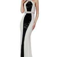 PRIMA 17-4108 White and Black Halter Prom Dress Evening Gown