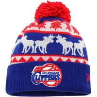 Mens Los Angeles Clippers New Era Royal Blue Mooser Knit Hat with Pom