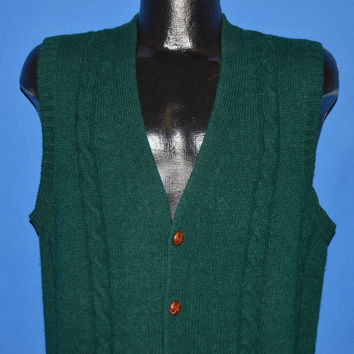 80s Green Cable Knit Cardigan Sweater Vest Medium