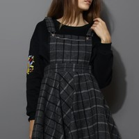Laid Check Wool-blend Pinafore Dress