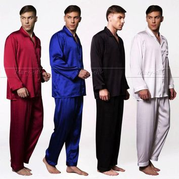 DCCKL72 Mens Silk  Satin  Pajamas  Set   Pyjamas  Set   Pjs   Sleepwear  Loungewear  S, M ,L ,XL,2XL,3XL,4XL Plus Size__Fits All Season