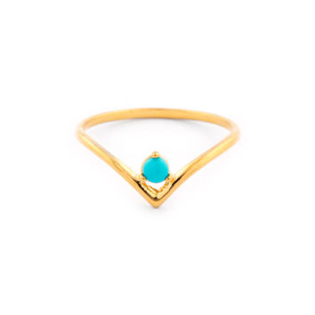 Delicate band with natural claw set turquoise stone