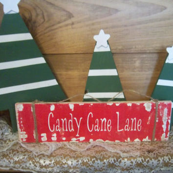 Candy Cane Lane Sign-Christmas Decor-Christmas Sign-Red and White Sign-Holiday Decoration