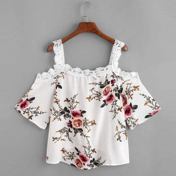 Women Summer Short Sleeve Off Shoulder Lace Floral Blouse Casual Tops T-Shirt