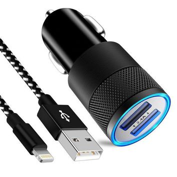 ESBON2D Chamfind iPhone Car Charger, 24W/4.8A Rapid Dual Port USB Car Charger Adapter With 3FT Lightning USB Cable Charging Cord for iPhone X 8 7 Plus 6S 6 SE 5S 5, iPad, iPod (Black White)