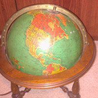"Stunning Vintage 1950s 10"" Retro Light Up Glass Replogle Earth Globe - with Wooden Stand"