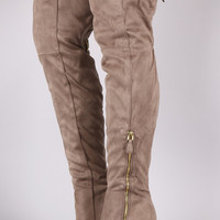 Qupid Suede Zipper Trim Over-The-Knee Boots