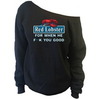Red Lobster Off-The-Shoulder Oversized Slouchy Sweatshirt