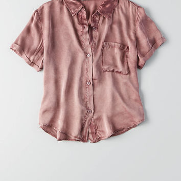 Don't Ask Why Satin Short Sleeve Shirt, Burgundy